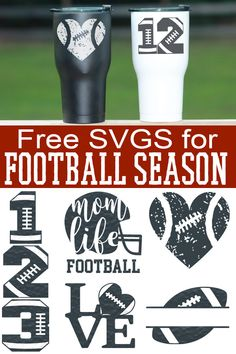 Free Football SVGs Football Season Never Looked So Good! is part of Cricut - Free Football SVGs and cut files for football season Any football fan would love to receive a gift with these Cricut Vinyl, Cricut Air, Cricut Fonts, Cricut Svg Files Free, Cricut Craft, Vinyl Decals, Silhouette Cameo Projects, Silhouette Design, Silhouette Cameo Free