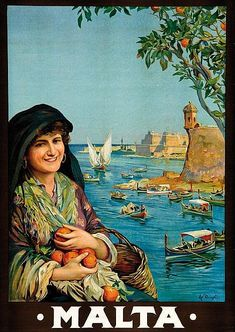 Vintage Travel Poster - Malta - by Carvano Dingli - 1925. Back: Fort St. Angelo