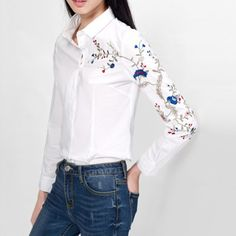 #aliexpress, #celebrity, #embroidery, #floral, #sleeve, #collar, #women, #black, #blouses, #casual, #business, #ladies, #topLBCD0429