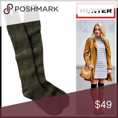 ❗1-HOUR SALE❗HUNTER ORIGINAL Tall Ribbed BootSocks 💟 NEW WITH TAGS 💟  HUNTER ORIGINAL Tall Ribbed Boot Socks  * Super soft, cozy & comfortable fabric * Wool blend construction w/ ribbed knit detail * Stretch-to-fit * One size fits many, approx shoes sizes 5.5-9. Over the knee, thigh high boot length * Designed for 'Hunter Original Tall Rain Boot' Fabric- 93% wool, 6% nylon, 26% 1% elastane; Machine wash Item#HU94400 Color-Dark Olive  🚫No Trades🚫 ✅Bundle Discounts✅ Hunter Boots…