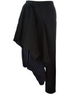 Facetasm Black Asymmetric Wool-Blend Draped Pants