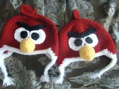 Red angry birds hat pattern
