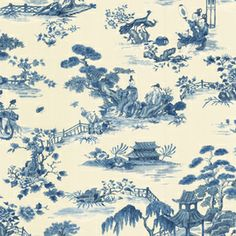 Waverly Blue Strippable Paper Prepasted Wallpaper