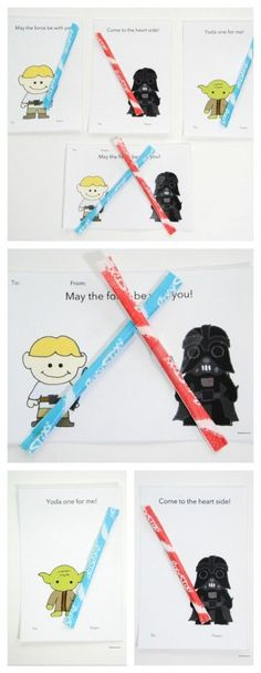 Star Wars Valentine's Star Wars Valentines lightsabers pin, but with a glow stick.Star Wars Valentines lightsabers pin, but with a glow stick. Kinder Valentines, Homemade Valentines, Valentines Day Party, Valentine Day Crafts, Valentine Ideas, Printable Valentine, Valentine Box, Valentine Wreath, Starwars Valentines