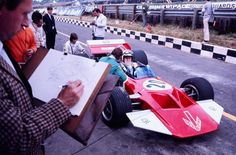 John Surtees, Surtees-Ford TS7, 1970 British Grand Prix, Brands Hatch (note the sketch artist...)