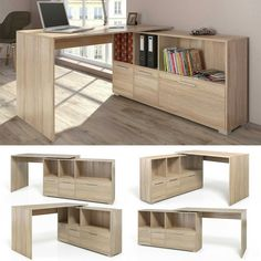 Mesa de Escritorio en L Escritorio esquinero Escritorio computadora Roble Sonoma Folding Furniture, Space Saving Furniture, Woodworking Furniture, Home Furniture, Furniture Design, Woodworking Projects, Woodworking Plans, Wood Projects, Furniture Ideas