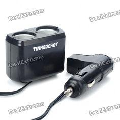 Car USB & Twin Socket Adapter (DC 12V)