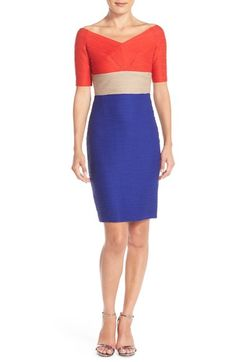 Nue by Shani Ottoman Knit Colorblock Sheath Dress available at #Nordstrom