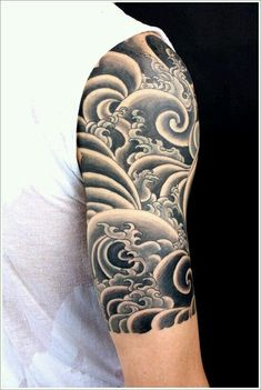25 Japanese Water Tattoo Designs for finish on right arm need the wave style over the blue Wave Tattoo Sleeve, Tattoo Sleeve Filler, Tattoos Skull, Japanese Sleeve Tattoos, Full Sleeve Tattoos, Sleeve Tattoos For Women, Tattoo Sleeve Designs, Tattoo Designs Men, Tattoos For Guys