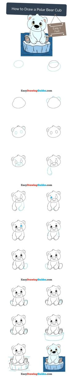Learn How to Draw a Polar Bear Cub: Easy Step-by-Step Drawing Tutorial for Kids and Beginners. #polarbear # cub #drawing #tutorial. See the full tutorial at https://easydrawingguides.com/how-to-draw-a-polar-bear-cub/