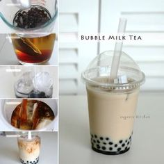 Today I am making delicious Taiwanese invention, bubble tea, of two flavors: milk tea and coconut. Classic bubble tea, milk tea boba. I love sweet milk tea with chewy boba, Giant tapioca pearls. In fact this is milkier than the bubble tea in the last summer video. For milk tea bubble tea, prepare the tapioca …