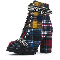 Jeffrey Campbell Lilith (485 PEN) ❤ liked on Polyvore featuring shoes, plaid, block high heel shoes, textile shoes, lace up high heel shoes, buckle shoes and tartan shoes
