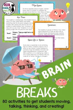 Your students will love these activities that you can use as brain breaks, ice breakers, warm-up activities, or fillers. There is a variety of tasks that are perfect for middle school, high school, or even adult ESL students to get them moving, discussing, and thinking creatively. These short activities can be used any time you need to mix things up a bit or just to liven up a tired class. #brainbreaks #icebreakers #warmups #adultesl