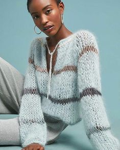 Soft blue on this Sunday with the Mohair Blouse with Lurex. This shows a sweater can be dressy too! Knitwear Fashion, Knit Fashion, Sweater Fashion, Knitting Designs, Knitting Patterns, Pullover Mode, Mohair Sweater, Knit Sweaters, Crochet Clothes