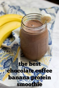 Chocolate banana coffee protein shake an easy morning breakfast that will k Protein Snacks, Protein Shake Recipes, Smoothie Recipes, Healthy Protein, Protein Power, Drink Recipes, Healthy Foods, Protein Desserts, Milkshake Recipes