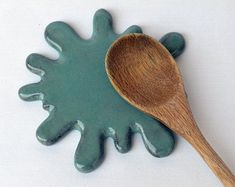 Splat Ceramic Spoonrest Trivet Tile Blue Green by ZooduStudios