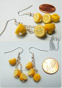 Polymer Clay Dangling Lemon Earrings by Talty.deviantart.com