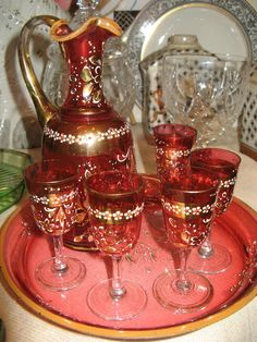 Enameled Gilded Bohemian Cranberry Glass Decanter Glasses Set on Tray