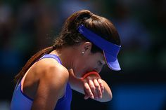 Ana Ivanovic of Serbia reacts in her first round match against Lucie Hradecka of the Czech Republic during day one of the 2015 Australian Open at Melbourne Park on January 19, 2015 in Melbourne, Australia.