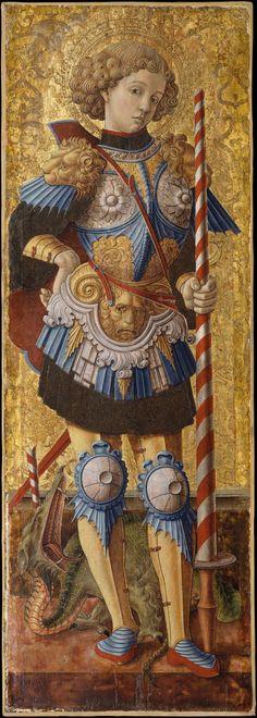 Carlo Crivelli ~ Saint George ~ 1472 ~ Italian Renaissance ~ Tempera on panel ~ Metropolitan Museum of Art, New York Religious Icons, Religious Art, Saint George And The Dragon, Illustration Art, Illustrations, Renaissance Paintings, Italian Renaissance Art, Medieval Art, Sacred Art