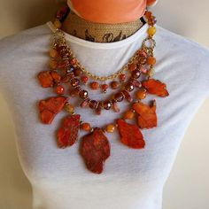 It's Time to make a SERIOUS Statement with your Jewelry?  Layered, Multi-Strand, Statement Bib Collar Necklace, Orange Jasper Slabs, Iris Apfel Wow Factor!