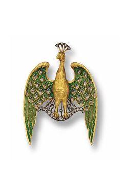 GOLD, PLIQUE-A-JOUR ENAMEL AND DIAMOND PENDAN T-BROOCH, CIRCA 1900.