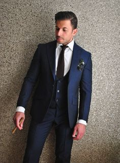 Blue mohair 3 piece suit - Delvero. Brown silk knit tie - Zegna. Blk floral silk pocket square - Delvero.