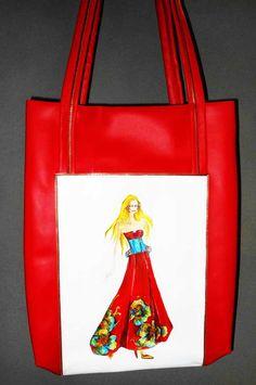 "TOTE bag RED--LeDiMarco  handmade handpainted laptop purse shoulder trendy bag ""Avrora"""