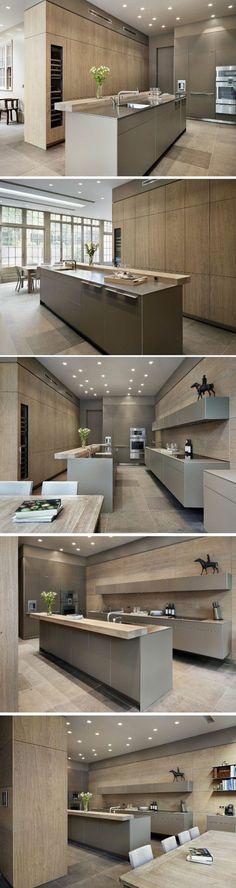 cuisine-meubles-de-cuisine-beige-luminaire-salle-à-manger-meubles-beiges