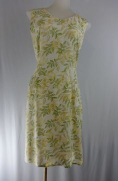 ANN TAYLOR LOFT Small Yellow Green Floral Sleeveless Pencil Dress #AnnTaylorLOFT #WigglePencil #SummerBeach