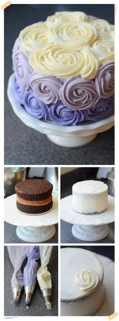 """A friend made a cake with these ombre """"roses"""" on it, and it was just beautiful! This pin gives you an idea of how to do it--simple pictures that get the idea across, because it's in Spanish! Cake Cookies, Cupcake Cakes, Bolo Cake, Cake Decorating Tips, Occasion Cakes, Cake Shop, Fancy Cakes, Pretty Cakes, Creative Cakes"""