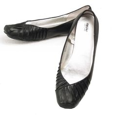 Mossimo Ballet Flats Black Leather Sz 11 Womens Square Toe Scrunch Detail  #Mossimo #BalletFlats #SomeLikeItUsed