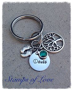 Personalized Doula Keychain by StampsofLove4 on Etsy perfect doula thank you gift with baby's birthstone