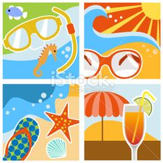 Summer Scenes Royalty Free Stock Vector Art Illustration