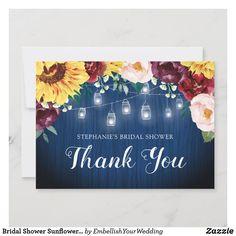 Bridal Shower Sunflower Mason Jar Lights Thank You Card Custom Thank You Cards, Wedding Thank You Cards, Wedding Thanks, Blue Mason Jars, Thanks Card, Mason Jar Lighting, Jar Lights, Wedding Stationary, Zazzle Invitations