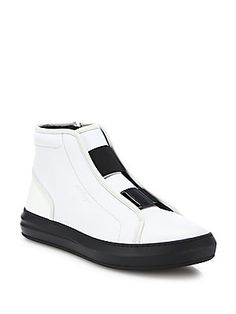 Salvatore Ferragamo Ground Hightop Calfskin Leather Sneakers - NOT AVAILABLE AT SOUTH COAST