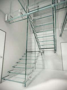 Ganzglastreppe mit innovativer Laminationstechnik. Treppen ganz aus Glas ohne Edelstahl und mit LED?? Gibt´s nicht? Gibt´s doch! www.sillertreppen.com Glass Stairs, Floating Stairs, Cantilever Stairs, Modern Architecture, Cube, Container, Led, Design, Home Decor