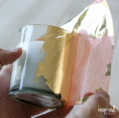 Keep the bugs away and stay stylish with these DIY Gold-Leafed Citronella Candles. This is a fun an easy DIY project to add style to your outdoor space.