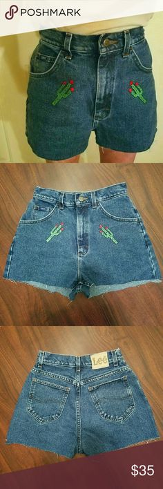 Vintage cactus patch mom shorts Vintage high waisted dark wash Lee shorts with perfect little cactus patches on them! Great dupe for some of the denim topshop is coming out with right now! Vintage Shorts Jean Shorts