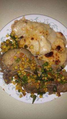 Veggy porkchops n potatoe scallops