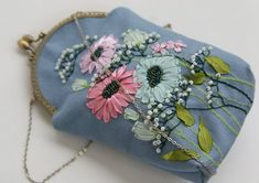 Your place to buy and sell all things handmade Embroidery Purse, Ribbon Embroidery, Collage, Daisy Flowers, Textiles, Diy Bags, Handicraft, Rose, Etsy Store