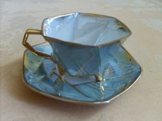Vintage Castle China, Japan 3-Footed Cup & Saucer