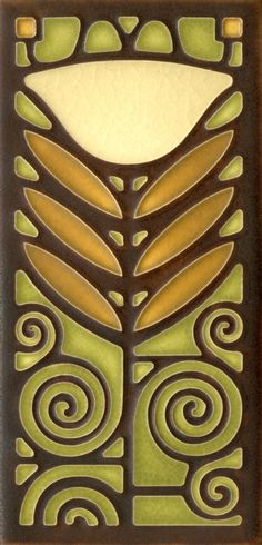 4x8 Dard Hunter Poppy in Olive by Motawi Tileworks