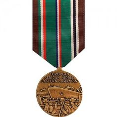 The European - African - Middle Eastern Campaign Medal (EAMECM) is a military award that recognizes the service of U.S. Armed Forces personnel who preformed military duty in the European Theater during World War II. Created on November 6th, 1942 by President Franklin D. Roosevelt's Executive Order 9265 it was originally just a ribbon and there was not a full sized medal until 1947. The first recipient of the medal was General of the Army Dwight Eisenhower.