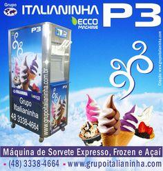 Nova Máquina de Sorvetes Soft, Milk Shake, Frozen Yogurt e Açaí Soft Italianinha - Televendas Brasil (48) 3338-4664 - (51) 3251-2635 - www.grupoitalianinha.com.br