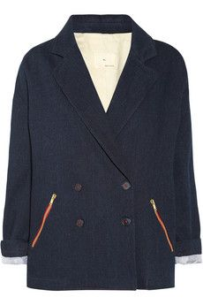 Contrast Color Zippers!  Band of Outsiders double-breasted denim jacket  | THE OUTNET #RunwayReady