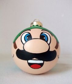 Luigi Hand Painted Christmas Ornament Super Mario by GingerPots, $16.00