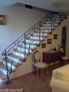 cost of wrought iron railing for balcony Staircase Railing Design, Metal Stair Railing, Wrought Iron Staircase, Home Stairs Design, Interior Stairs, Railings For Stairs, Stairway Railing Ideas, Bannister, Design Your Dream House