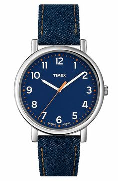 Timex® 'Easy Reader' Leather Strap Watch available at Nordstrom