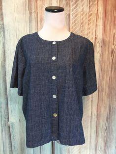 Orvis Denim Shirt Top Blue Cropped Button Front Round Neck SS Cotton sz L EUC! #Orvis #DenimShirt #Casual